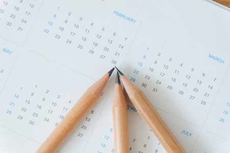 White calendar in planning concept. Stock Photo