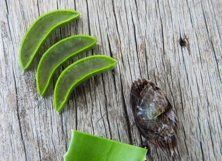 Fresh aloe vera on wood texture. Stock Photo