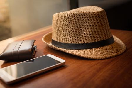 Vintage  hat fasion on wood texture. Stock Photo