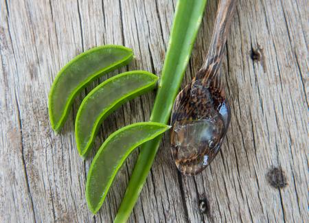 aloe vera flowers: Fresh aloe vera on wood texture. Stock Photo