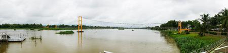 bridge in panorama seen. Stock Photo