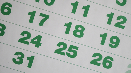 Number of green ncalendar in planning concept.