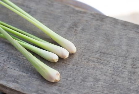 Close up lemongrass on wood table.