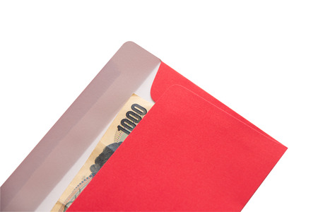 Red envelope on white background.Chinese new year 2019 concept.