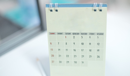 close up calendar in white tone. Banque d'images