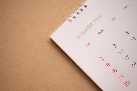 Close up calendar 2018.December Standard-Bild - 117563200