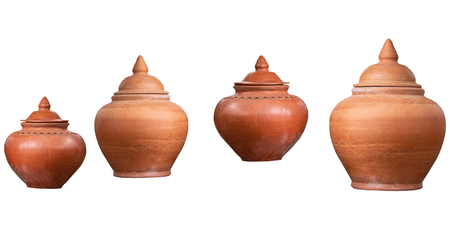 Earthenware jar in thailand on white background.with clipping path.