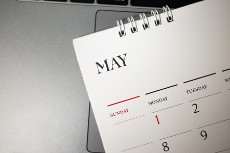Close up May calendar in planning concept. Stock Photo