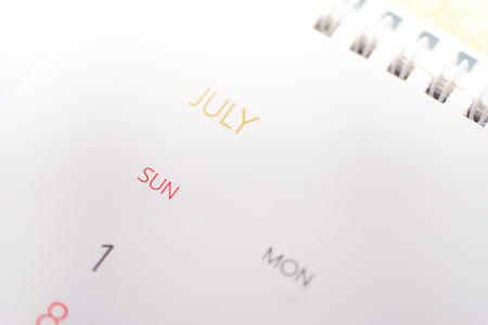 Close up calendar on white tone in planning concept.