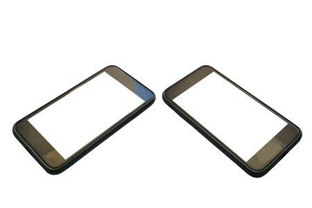 Close up black smart phone on white baclground.