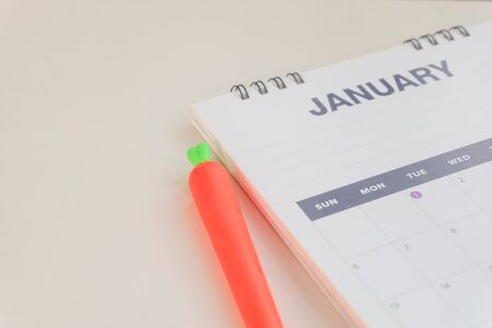 Close up Calendar January on white tone.