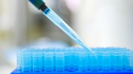Blurred Blue pipette tip in blue box. Stock Photo