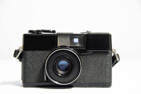 Vintage film camera on white background.