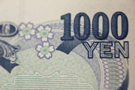 Close- up on 1000 YEN banknote.