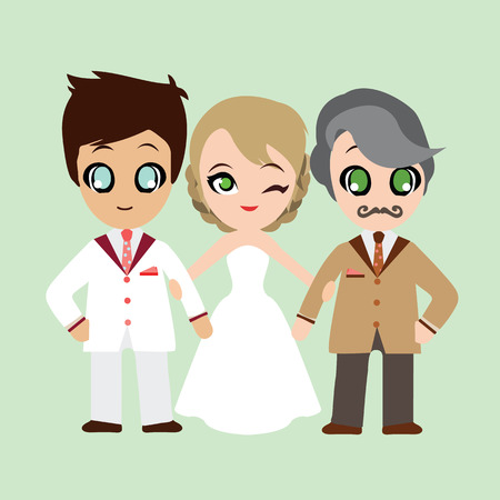 father of the bride: Illustration of lovely sweet couple and her father.