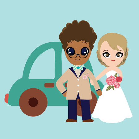 sweet couple: Illustration of lovely sweet couple wedding
