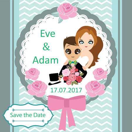 sweet couple: Illustration of lovely sweet couple wedding card.