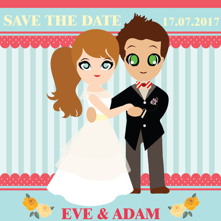 sweet couple: Illustration of lovely sweet couple wedding card
