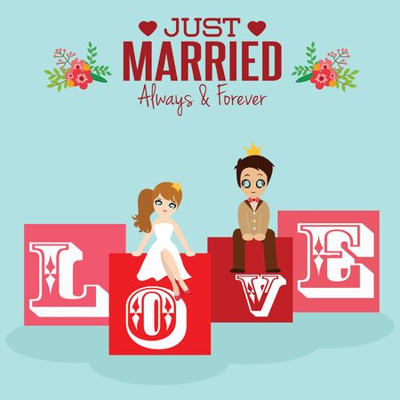 lovely couple: Illustration of lovely couple wedding card.