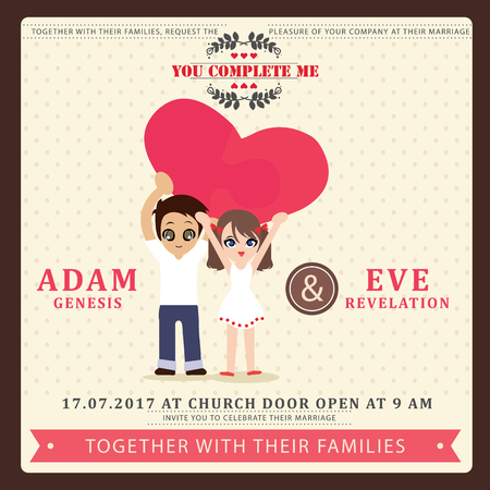 wedding couple: Illustration of lovely sweet couple wedding card.