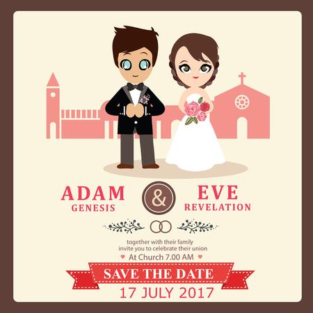wedding couple: Illustration of lovely sweet couple wedding card.