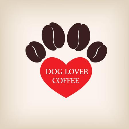 vecter: paw dog logo coffee shop vecter. Illustration