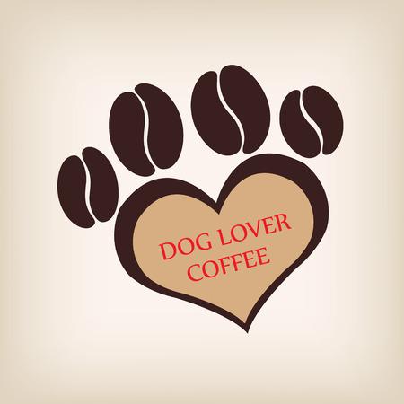 vecter: Paw dog logo coffee shop vecter.