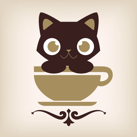 catoon: Cat coffee logo design. Vector illustration.
