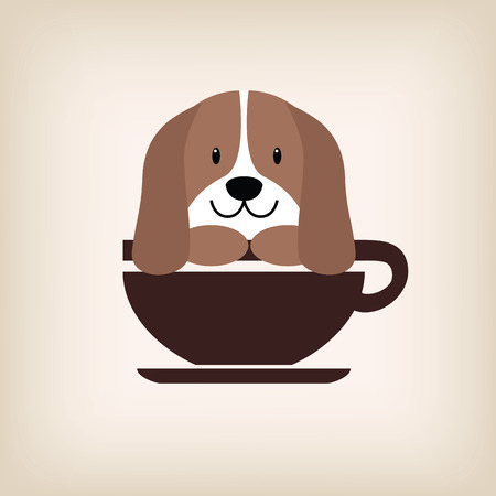 hot dog label: Dog face with coffee cup logo vector. Illustration