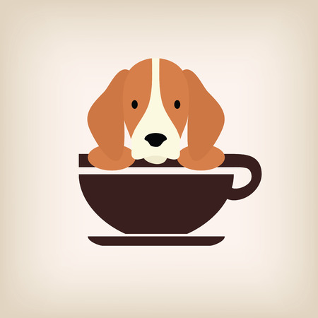 hot dog label: Dog logo coffee vector.