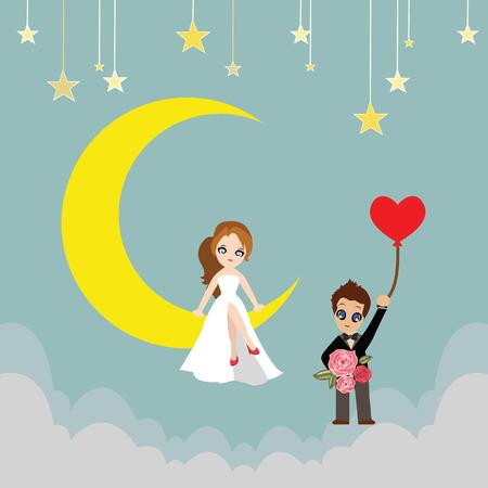 luna caricatura: Amante en un vector de la historieta de la luna.