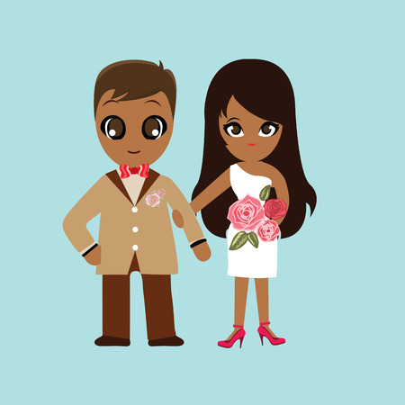wedding couple: Illustration of lovely sweet couple wedding. Stock Illustratie