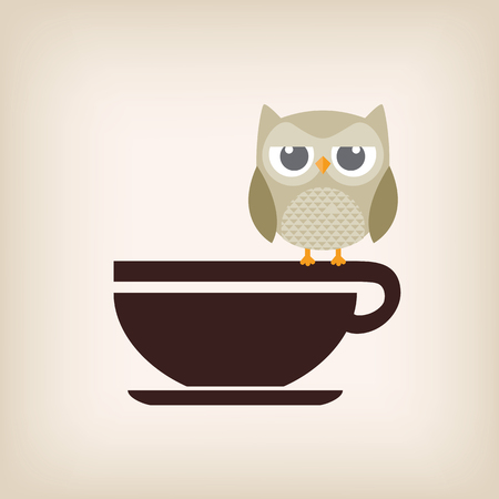 thirsty bird: Owl with coffee cup