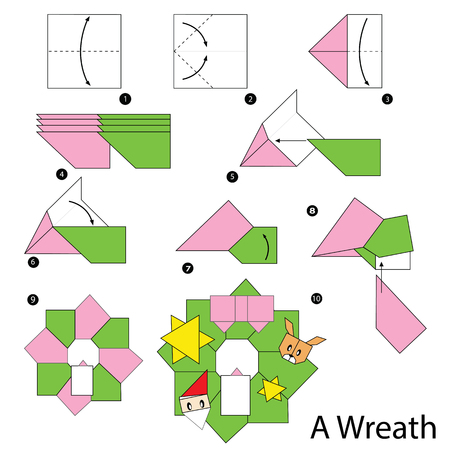 origami: step by step instructions how to make origami christmas wreath. Illustration