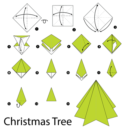 origami: step by step instructions how to make origami christmas tree.
