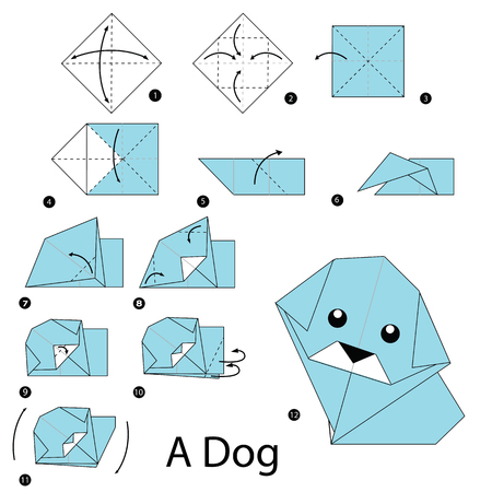 origami paper: step by step instructions how to make origami dog.
