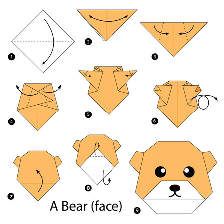 origami pattern: step by step instructions how to make origami A Bear.