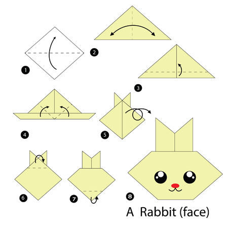silhouette lapin: des instructions �tape par �tape comment faire l'origami Un lapin.