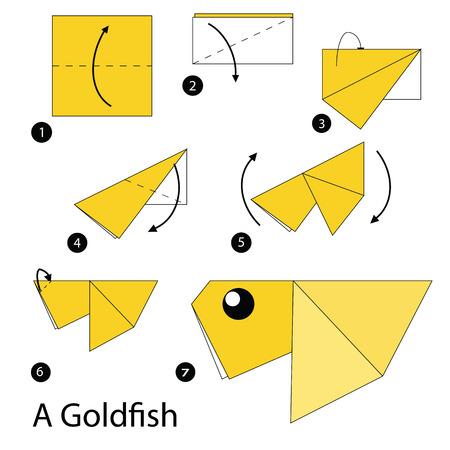 instrucciones: instrucciones paso a paso c�mo hacer origami de un pez de colores. Vectores