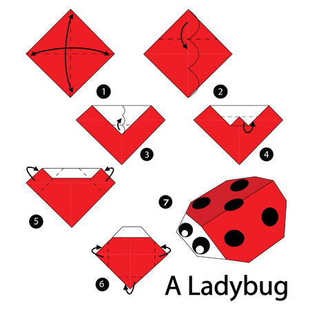 origami: step by step instructions how to make origami A Ladybug. Illustration