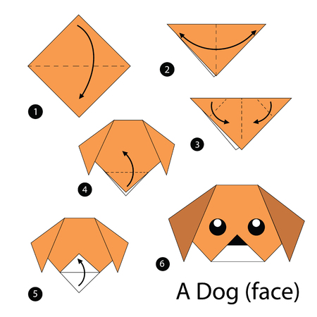 Step By Step Instructions How To Make Origami Dog Royalty Free