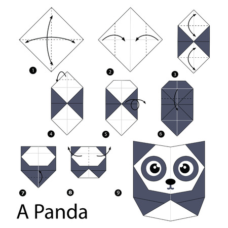 origami: step by step instructions how to make origami A Panda.
