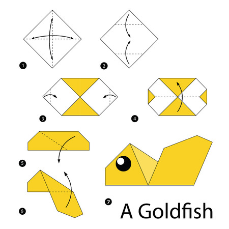 pez dorado: instrucciones paso a paso cómo hacer origami de un pez de colores. Vectores