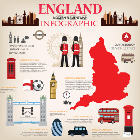 england map: England Map Infographic vector. Illustration