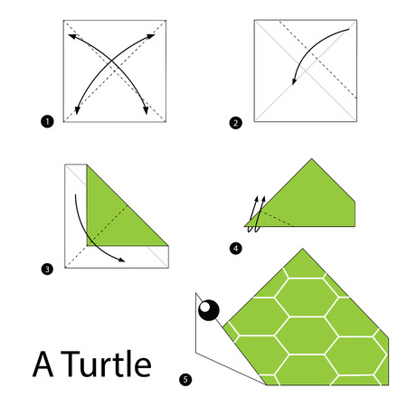 origami: step by step instructions how to make origami A Turtle.