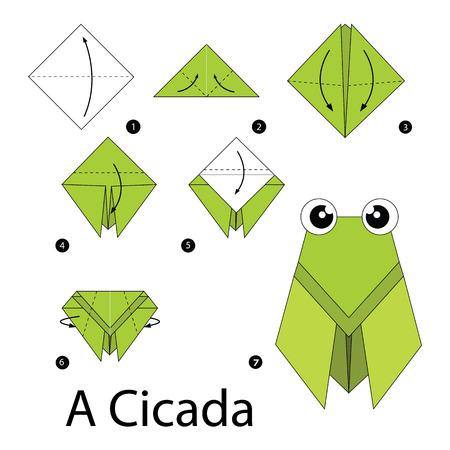 cicada: step by step instructions how to make origami A Cicada.