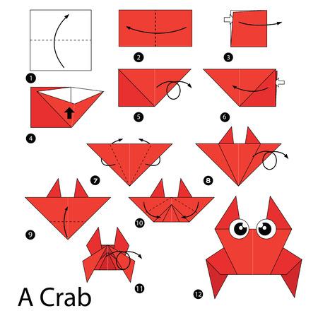 cangrejo caricatura: paso a paso las instrucciones de c�mo hacer origami Un cangrejo. Vectores