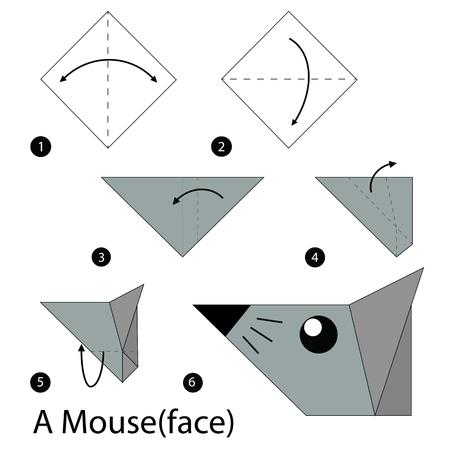rata caricatura: paso a paso las instrucciones de cómo hacer origami Un Ratón. Vectores