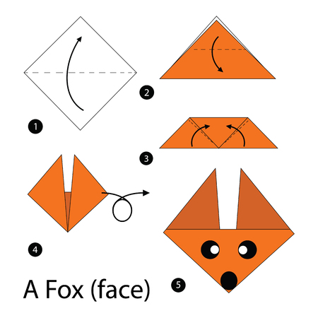step by step instructions how to make origami A Fox. Иллюстрация