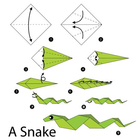 instrucciones: paso a paso las instrucciones de c�mo hacer origami Una serpiente. Vectores